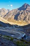 Paso de los Libertadores, Winding Road at 3000 meters, between A Royalty Free Stock Image