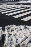 Paso de peatones con nieve adentro, Yokohama, Tokio, Japón Imagen de archivo