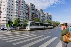 Paso de peatones en Bucarest central fotos de archivo