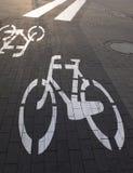 Paso de peatones de la trayectoria de la bicicleta Imagenes de archivo