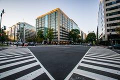 Paso de peatones que enmarca un edificio en DC céntrico durante un verano caliente fotografía de archivo libre de regalías