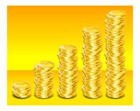 Paso de progresión de las monedas de oro Foto de archivo libre de regalías