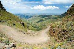 Paso de Sani de los caminos de Lesotho Imágenes de archivo libres de regalías