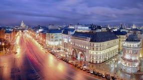Paso de Teatralnyy del panorama de Moscú Foto de archivo libre de regalías