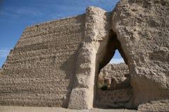 Paso de Yuemen Guan de la puerta, desierto de Gobi Dunhuang China foto de archivo