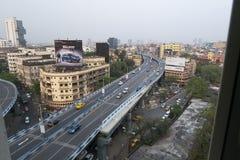 Paso elevado famoso en Kolkata, la India imagen de archivo