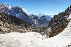 Paso en la región de Everest, Nepal de Cho La foto de archivo