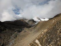 Paso Himalayan del Thorung-La seco en monzón Fotos de archivo libres de regalías