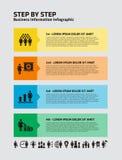 4 paso Infographic con los iconos de la empresaria stock de ilustración