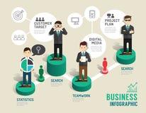 Paso infographic del concepto del juego de mesa del negocio a acertado Fotografía de archivo libre de regalías