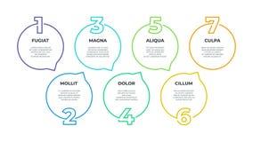 Paso infographic Organigrama de proceso, gr?fico de la cronolog?a, l?nea diagrama, 7 opciones del flujo de trabajo del negocio de stock de ilustración