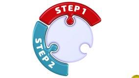 Paso 1, paso 2, paso 3 La marca de verificación bajo la forma de rompecabezas libre illustration