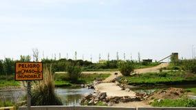 Paso provisional en el río de Llobregat Imágenes de archivo libres de regalías
