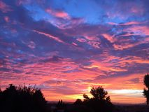 Paso Robles fall sunset with trees, large passing storm clouds royalty free stock photo