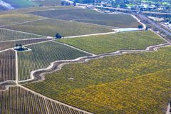 Paso Robles Fall Vineyards viewed from an airplane - amazing autumn colors. Multiple grape varietals change colors at different times during the fall season Stock Photo