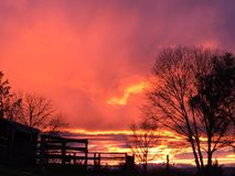 Paso Robles winter sunset California. Sky on fire colorful stormy storms trees blue orange pink purple rural ranch farm skyline peace peaceful serenity renew Royalty Free Stock Images