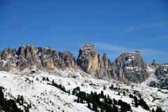 Paso Sella Peak of Canazei, Trentino-Alto Adige, Italy. Great view of the mountain near Canazei,Dolomites,Italy stock photography