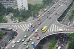Paso superior en la ciudad chengdu de China Foto de archivo libre de regalías