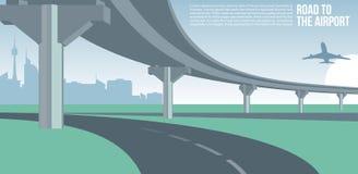 Paso superior o puente, en un camino de ciudad al ejemplo fresco suburbano o urbano del paisaje urbano del aeropuerto de la bande libre illustration