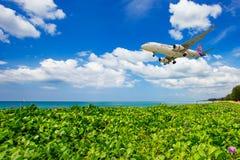 Paso tailandés del vuelo de la vía aérea el océano con correhuela del mar verde fotografía de archivo