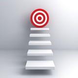 Pasos al concepto del negocio de la blanco de la meta sobre la pared blanca Foto de archivo libre de regalías