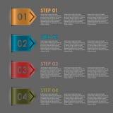 Pasos coloridos de las señales para el tutorial Fotos de archivo libres de regalías