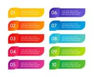 Pasos coloridos del menú, interfaz del app Opciones del número Diseño web de elementos de los botones Ejemplo del infographics de stock de ilustración