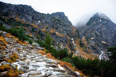 Pasos congelados en la trayectoria a Mt Rysy Fotos de archivo