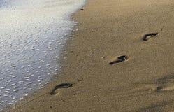 Pasos de la comida en la playa Fotos de archivo