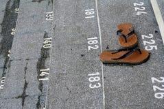 Pasos de la escalera con números Imagenes de archivo