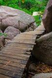 Pasos de madera en tailandés Imágenes de archivo libres de regalías