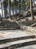 Pasos de piedra que llevan al Mt Área de visión de Rushmore foto de archivo