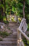 pasos de piedra y verjas de madera Fotos de archivo