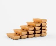 Pasos de progresión de las barras de oro Foto de archivo libre de regalías