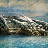 Pasos de progresión que llevan a una piscina de agua Fotos de archivo libres de regalías