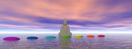 Pasos de progresión y buddha Imágenes de archivo libres de regalías
