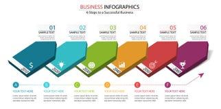 6 pasos del diseño infographic al éxito en negocio muestran en diagrama del dominó de los datos de negocio foto de archivo libre de regalías