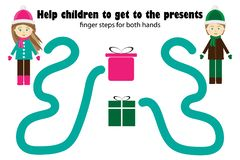 Pasos del finger para ambos mano, ayudar a niños para conseguir presentar, al desarrollo simultáneo de los hemisferios correctos  libre illustration