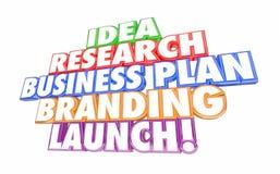 Pasos del negocio del lanzamiento de márketing del plan empresarial de la investigación de la idea nuevos Foto de archivo