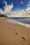 Pasos del pie en la arena Fotografía de archivo