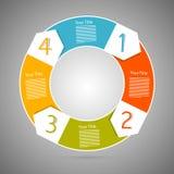 Pasos del progreso del círculo para el tutorial, Infographics Imagen de archivo libre de regalías