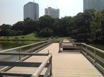 Pasos del puente de madera sobre el río Imagenes de archivo