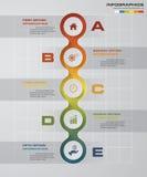 5 pasos diagram la plantilla/el gráfico o la disposición del sitio web Imagen de archivo libre de regalías
