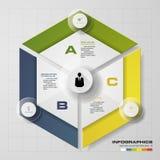 3 pasos en diagrama hexagonal del infographics del diseño moderno Ilustración del vector Fotos de archivo libres de regalías