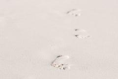Pasos en la arena Fotos de archivo libres de regalías