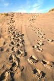 Pasos en la arena de dunas Foto de archivo
