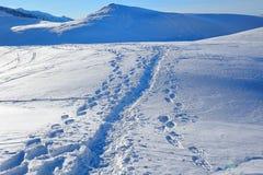 Pasos en la nieve en las montañas Fotos de archivo
