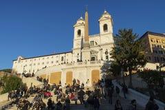 Pasos españoles en Roma en la puesta del sol Fotografía de archivo