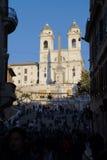 Pasos españoles en Roma en la puesta del sol Imagen de archivo