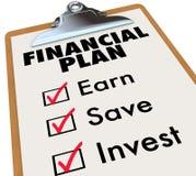 Pasos financieros de la estrategia de ahorro del dinero del tablero del plan ilustración del vector